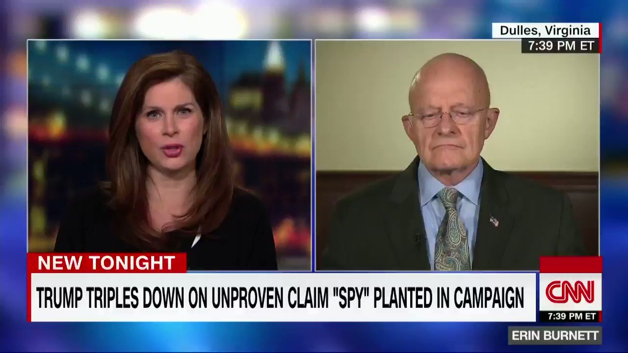 "Former DNI James Clapper on Trump repeating ""spy"" claims: ""This narrative is going to continue regardless of the facts. It's just the way things are now. I think the President will continue to perpetuate that narrative no matter how much evidence is brought out that's factual."" https://t.co/eaqA9xGuEq"