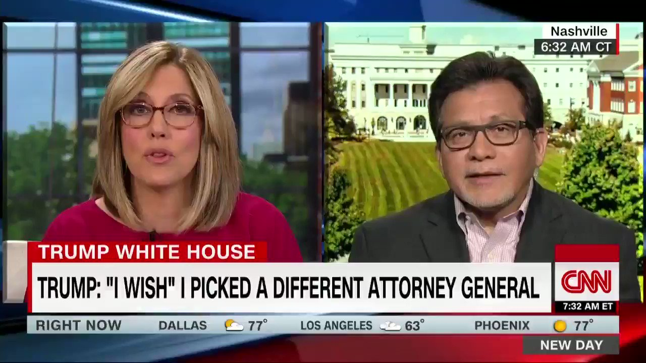 "Asked if Jeff Sessions should resign after public demeaning from Trump, fmr AG Alberto Gonzales says he has any attorney's ""dream job"": ""I don't think he wants to leave his position ... I think he's going to continue to take this pummeling until the President actually fires him"" https://t.co/bHdyXUgmUh"
