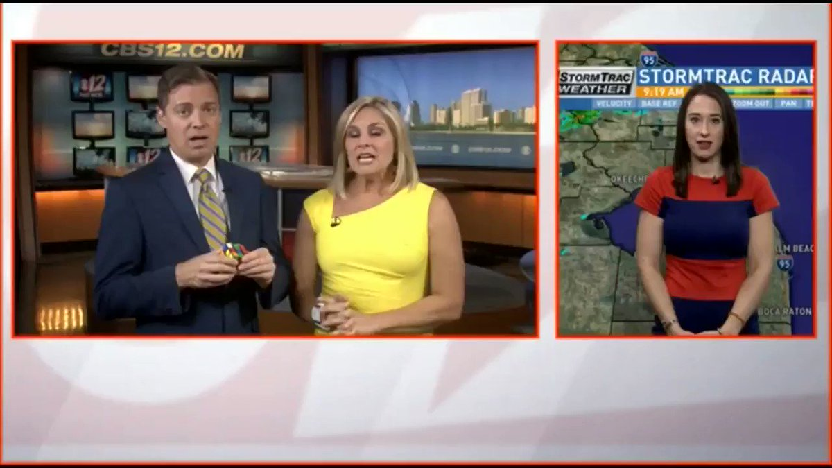 Watch this meteorologist solve a Rubik's cube while giving a live weather report
