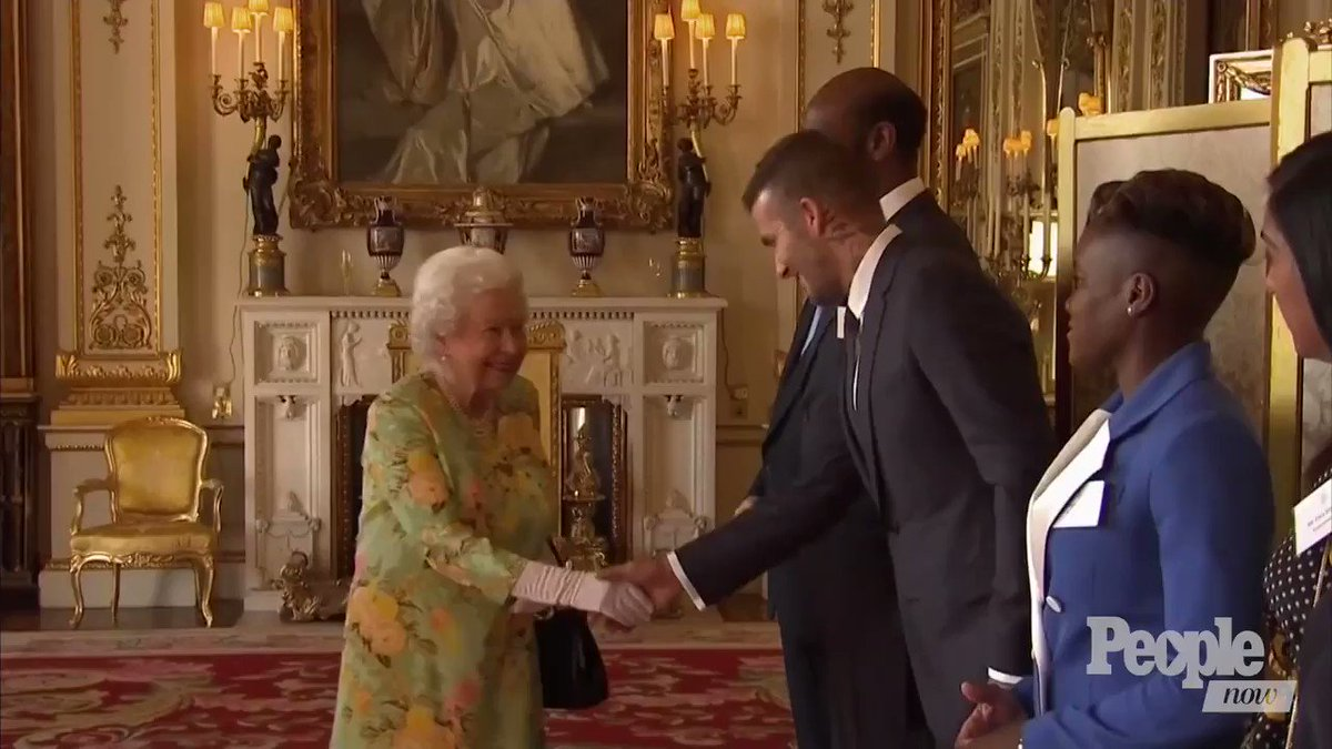 The Beckham Effect: Queen Is All Smiles While Greeting David at Palace Party