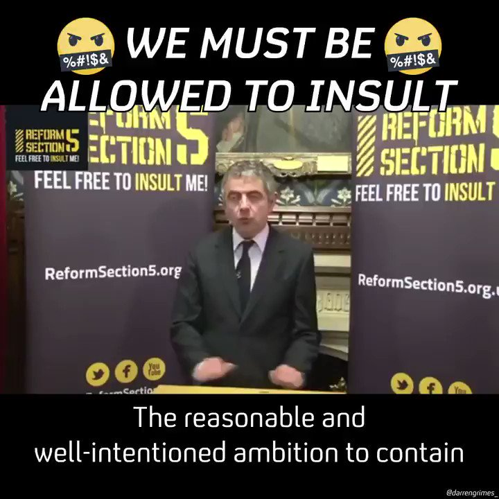 Rowan Atkinson is trending on Twitter for daring to defend free speech. He's been one of the most brilliant advocates of it throughout his career.
