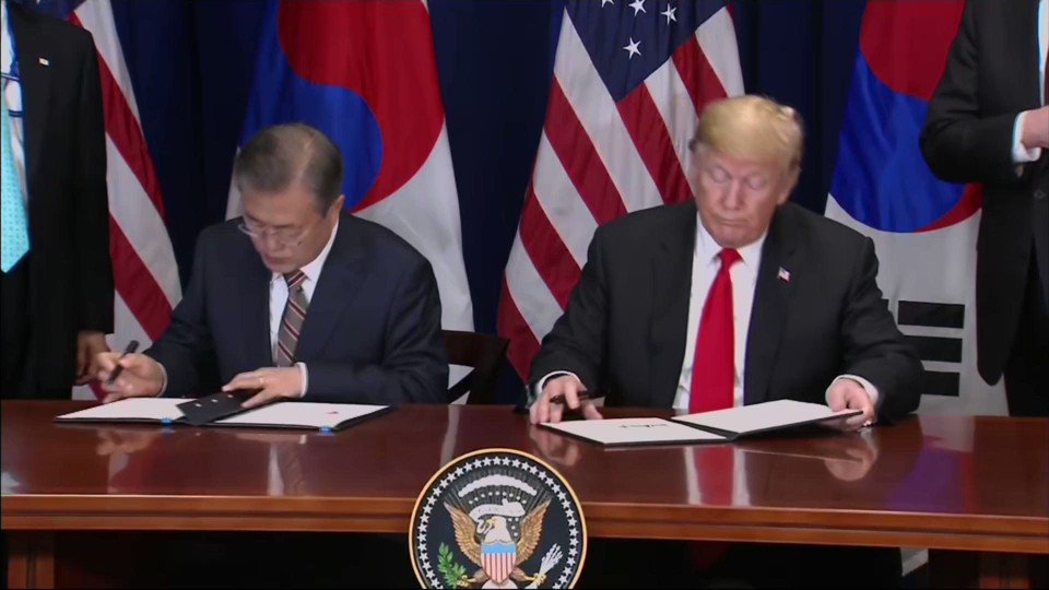 President Trump And South Korean President Moon Jae In Sign The Us