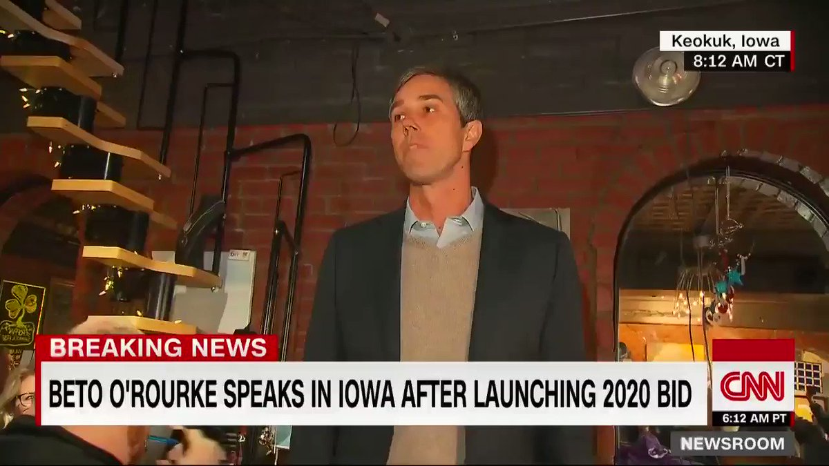 """Beto O'Rourke speaks in Iowa after launching his 2020 bid: """"We have the single greatest mechanism to call forth the genius of our fellow human beings. This democracy … can bring the ingenuity, the creativity, the resolve of an entire country"""""""