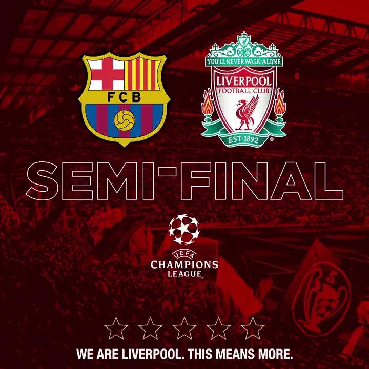 Next up, @FCBarcelona. 💪  UP THE REDS. 🔴🔴 https://t.co/zvxWvSUJ47