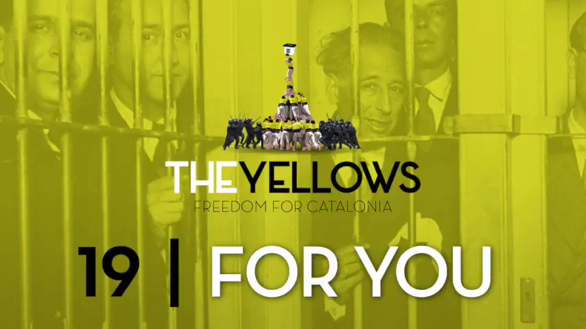 Over the last 120 years Spain has executed, jailed or forced into exile 9 out of 11 of our presidents for defending our ideas. Today we keep fighting peacefully against the #SpanishRepression! For them, for those to come, for those who are no longer here. Video 19 #theyellows_cat https://t.co/z1rq7IGhX4