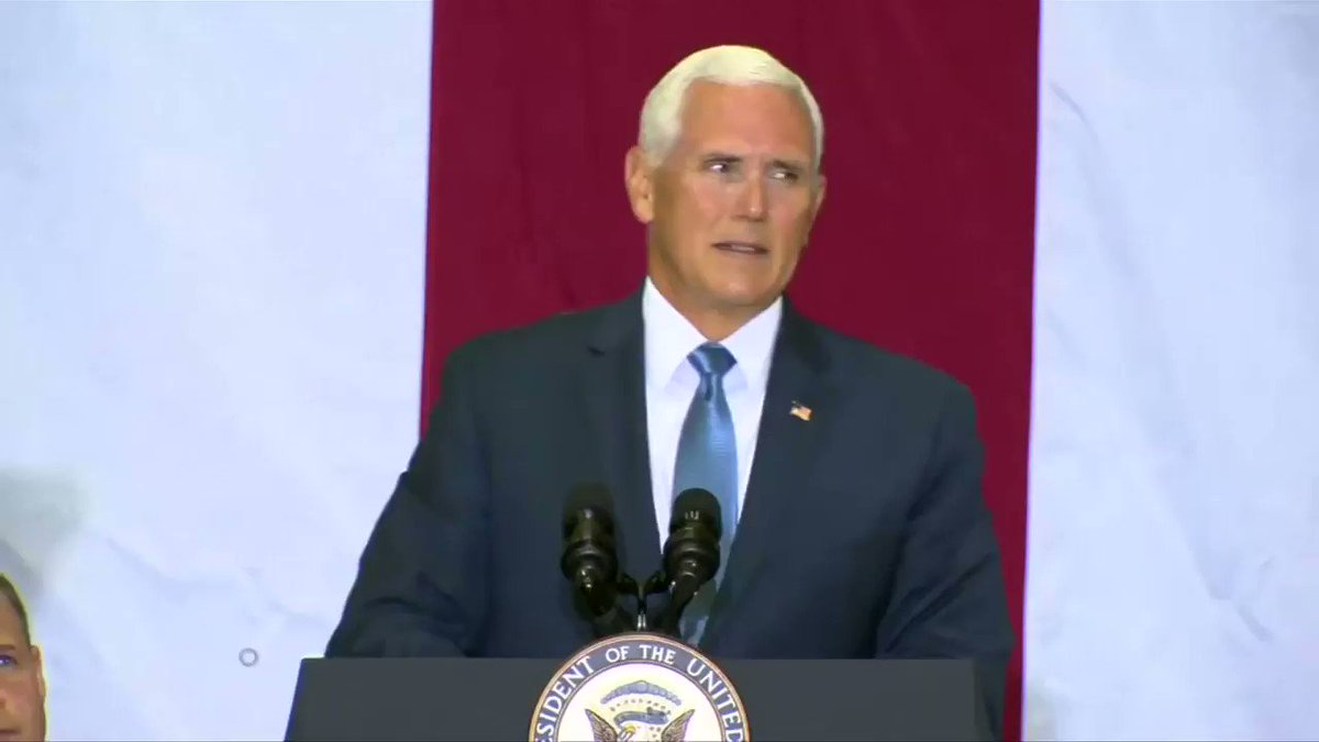 Mike Pence lauds Apollo 11 astronauts at the Kennedy Space Center in Florida