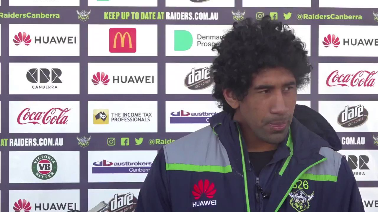 """When you're standing in the tunnel and you hear the Viking clap it gives you a big buzz."" - Soliola praises Raiders fans.  #WeAreRaiders #NRL https://t.co/Kh86hZo8Bo"