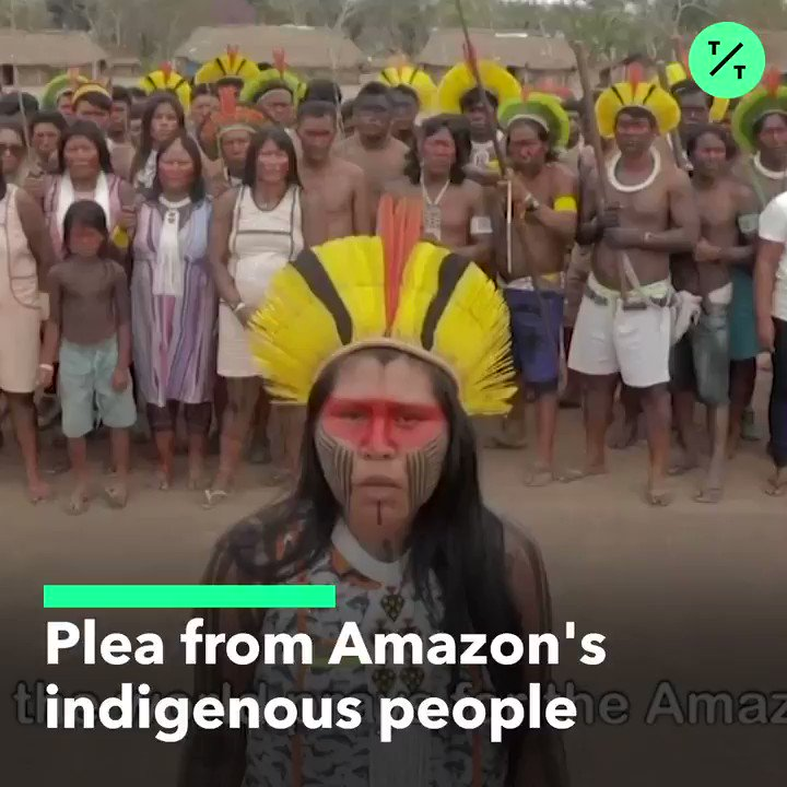 """RT @tictoc: """"No to the mining in our lands. No to deforestation. No more invasions and disrespect.""""  Brazil's indigenous people demand urgent action for the #AmazonFires and an end to mining in the Amazon as world leaders are set to discuss the blaze at the #G7Summit https://t.co/VPrhe3uojh"""