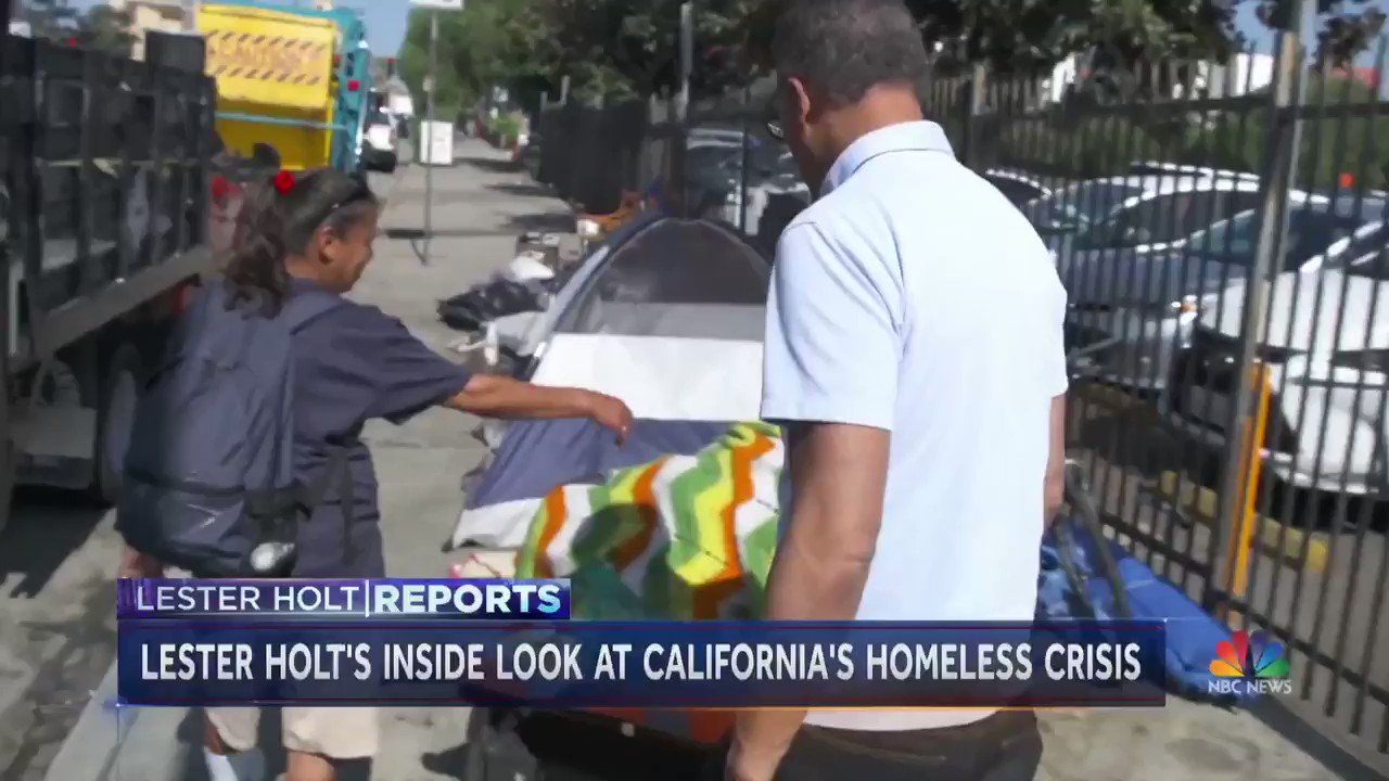 Some 130,000 people are homeless in California. @LesterHoltNBC reports from the streets of Los Angeles -- a city where the homeless population jumped 16 percent in just a year -- to give a firsthand look at the growing crisis. https://t.co/o5vGI38bQm