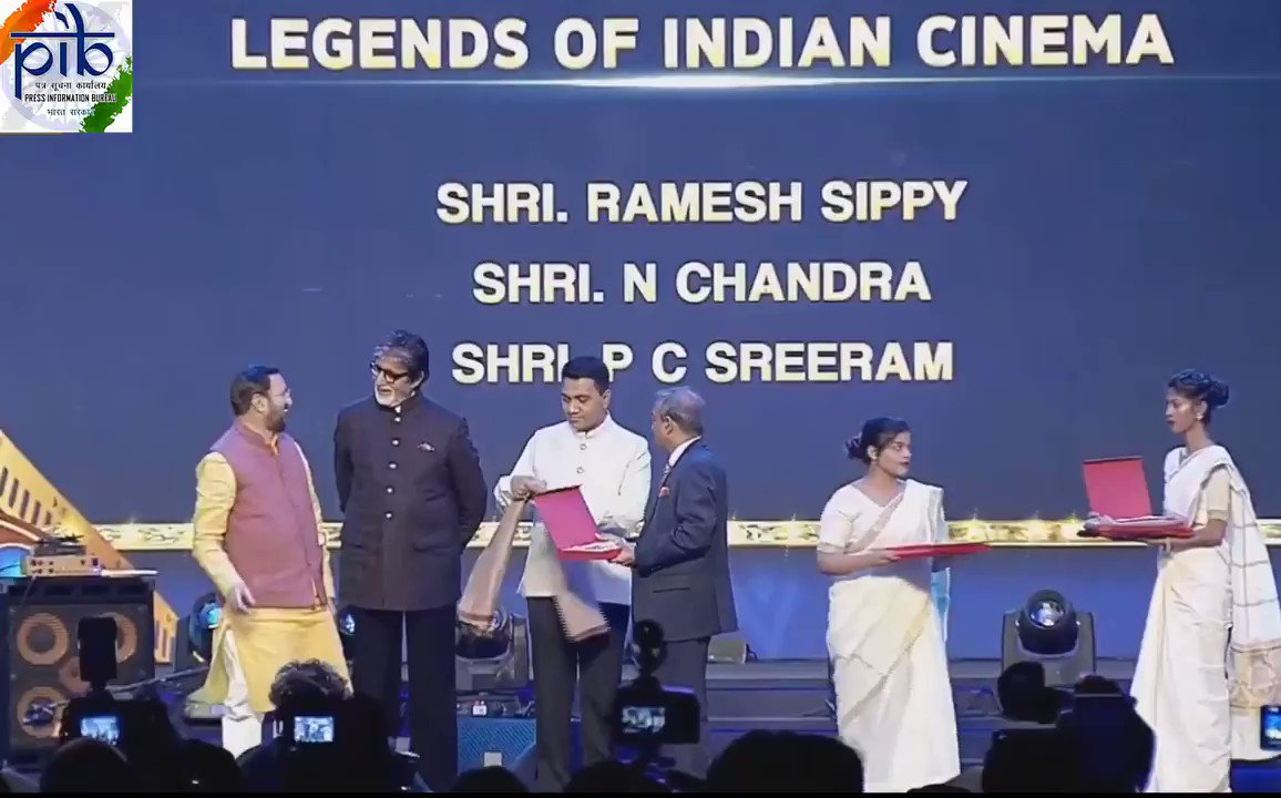Legends of Indian Cinema honoured at #IFFI2019      #Sholay fame Ramesh Sippy, also one of the Jury Members of #IFFI2019, Cinematographer @pcsreeram and Writer/Director, N Chandra felicitated at #IFFIopeningCeremony