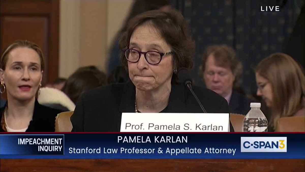 """Pamela Karlan: """"What would you think if, when your governor asked the federal government for the disaster assistance that Congress has provided, the President responded, 'I would like you to do us a favor.' I'll... send the disaster relief once you brand my opponent a criminal."""""""