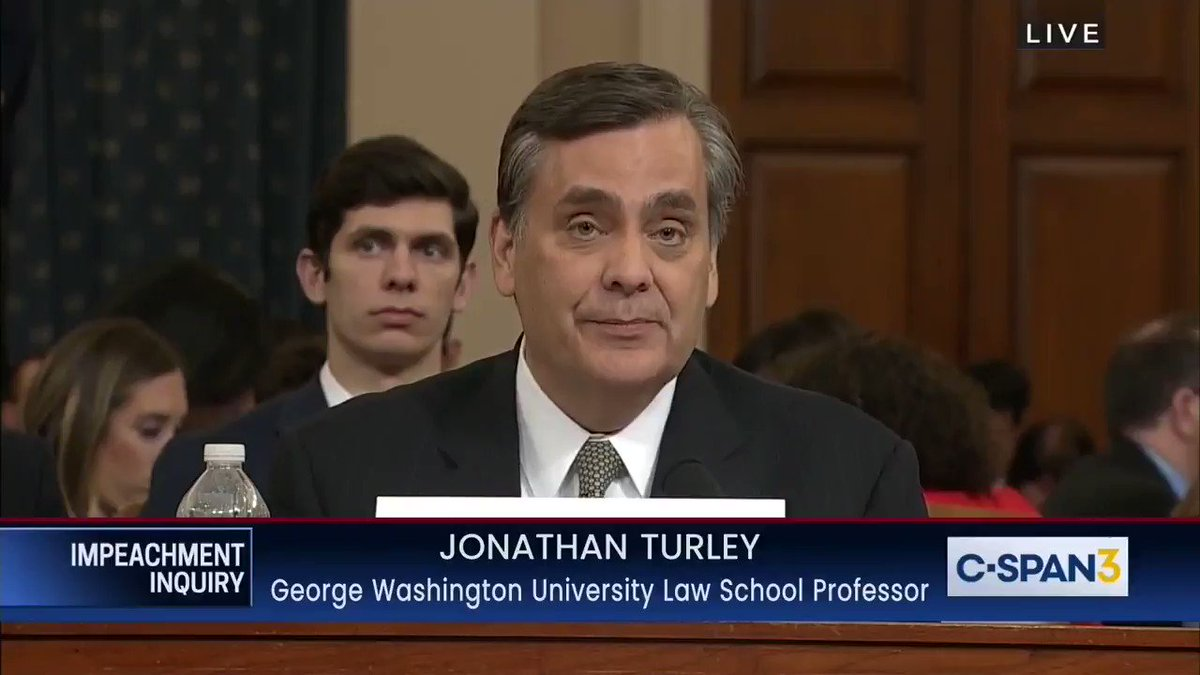 "Prof. Turley: ""You can't say the president is above the law if you then say the crimes you accuse him of really don't have to be established."""