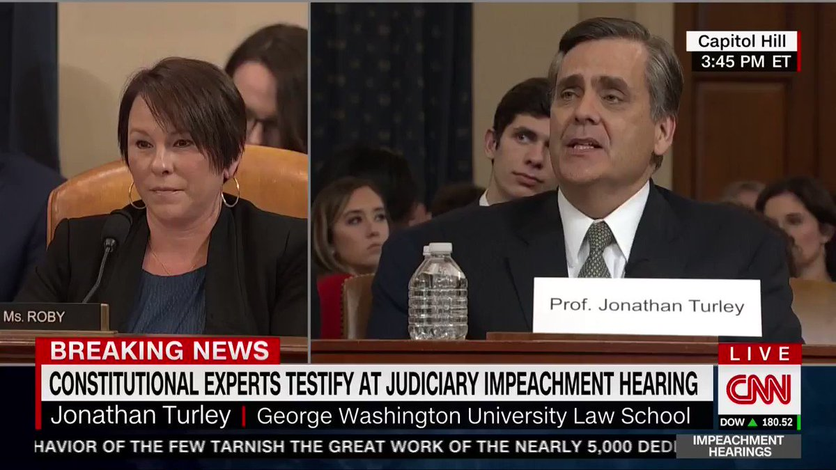 "Prof Turley: ""It's not enough to say, 'I infer this was the purpose,' 'I infer that this is what was intended,' when you're not actually subpoenaing people with direct knowledge.   ""And, instead, you're saying we must vote in this rocket-docket of an impeachment."""