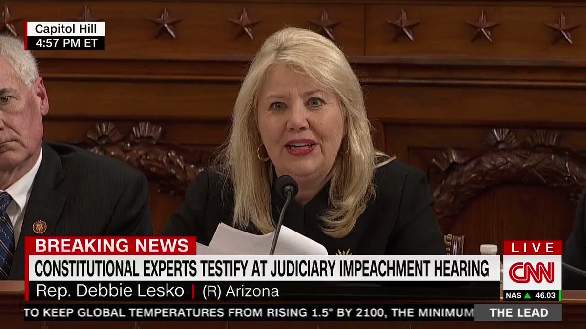 ".@RepDLesko: ""You and House Democrat leadership are tearing apart the country.   ""You said the evidence needs to be clear. It is not.   ""You said offenses need to be grave. They are not."""