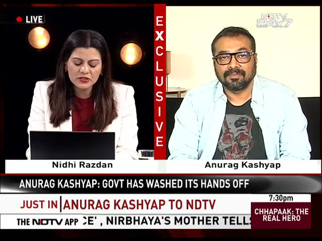 "Watch | ""I don't fear government or police... but a mad man on the street can do anything to you and that puts the fear in us... because they have literally armed everyone, saying, 'Because you are with Modi, you are a patriot and soldier of the country'"": Anurag Kashyap to NDTV"