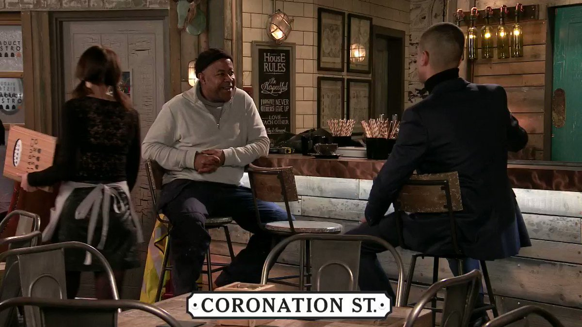 Ed bumps into his old workmate Danny, who reveals that since they last spoke, he's come out.   But when James walks in, will he recognise him?  Find out tonight at 7.30pm & 8.30pm.  #Corrie | @itv | @wearestv