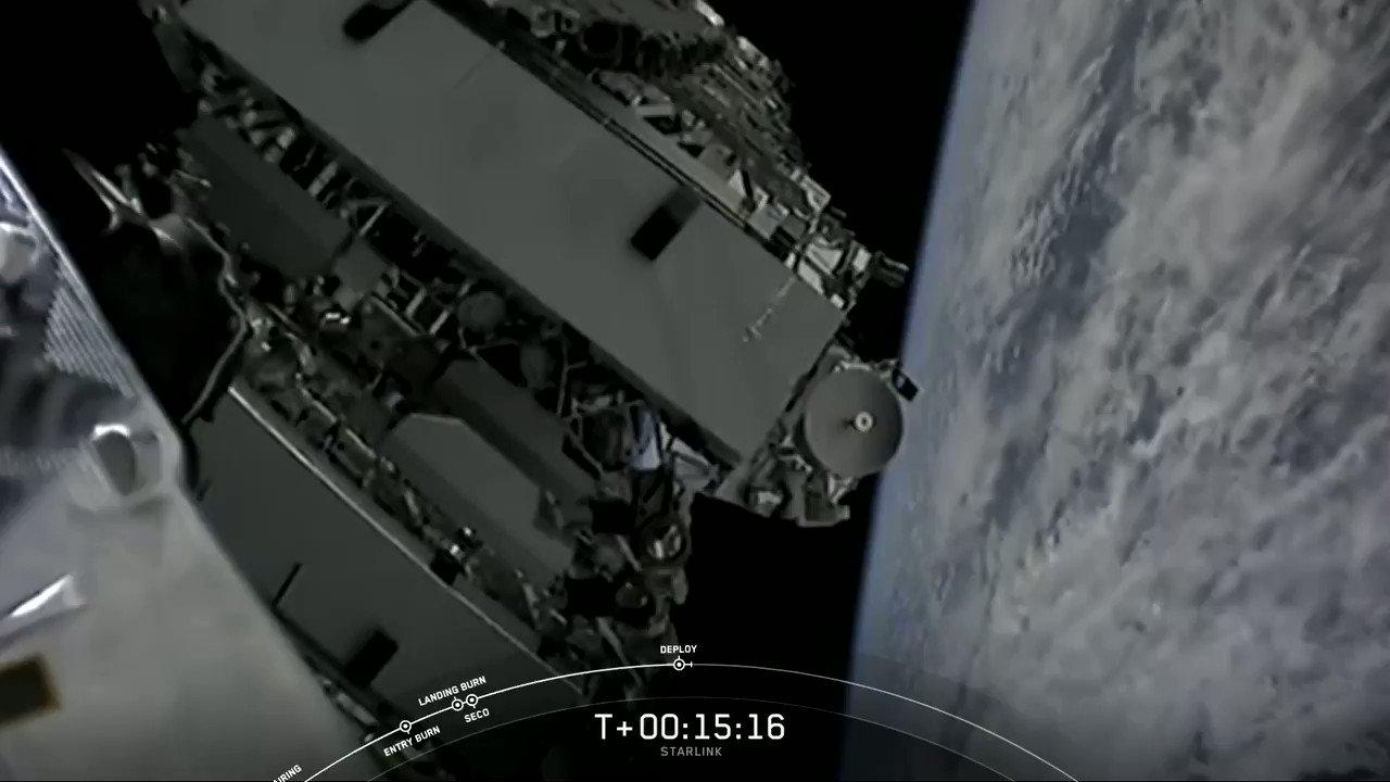 Successful deployment of 60 Starlink satellites confirmed! https://t.co/bKBtI5UZEB