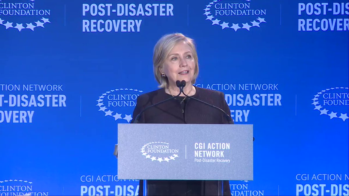 """The reality is that hurricanes and other disasters caused or exacerbated by climate change are only going to grow in frequency and severity and we have to be prepared for the impact that will continue to make on communities."" — @HillaryClinton"
