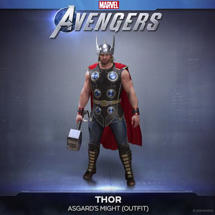 Pre-order Marvel's Avengers and get the Asgard's Might Outfit! Featuring Thor's winged helmet, chest installations, and red cape, this Outfit harkens back to his iconic Journey into Mystery comic days.  #Reassemble #EmbraceYourPowers @PlayAvengers