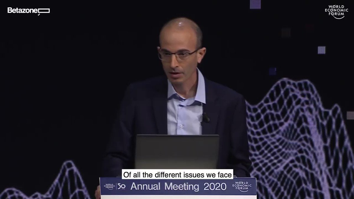 Nuclear war, ecological collapse and technological disruption – @harari_yuval on how to survive the 21st century. His talk from Davos 2020.  #betazone #davos  #wef20