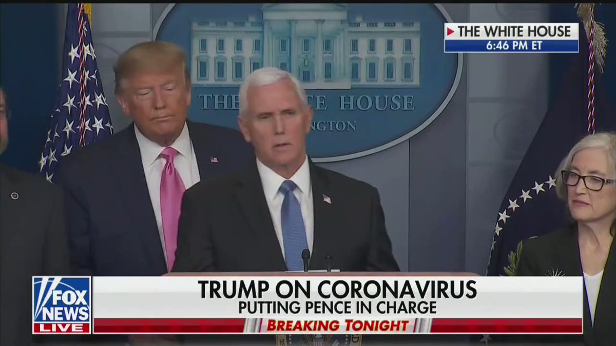 President @realDonaldTrump appointed Vice President @Mike_Pence to lead the U.S. #Coronavirus response.  The Vice President said that the President took unprecedented steps to protect the American People from the spread of this disease.