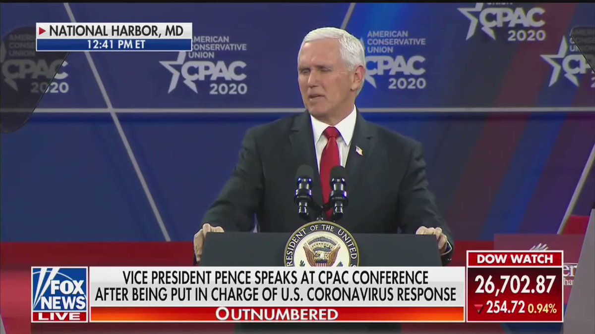 Vice President @Mike_Pence at #CPAC: President @realDonaldTrump has no higher priority than the health, safety, and well-being of the American People.  While the risk of the #Coronavirus remains low to the American public, as the president said yesterday, we are ready!