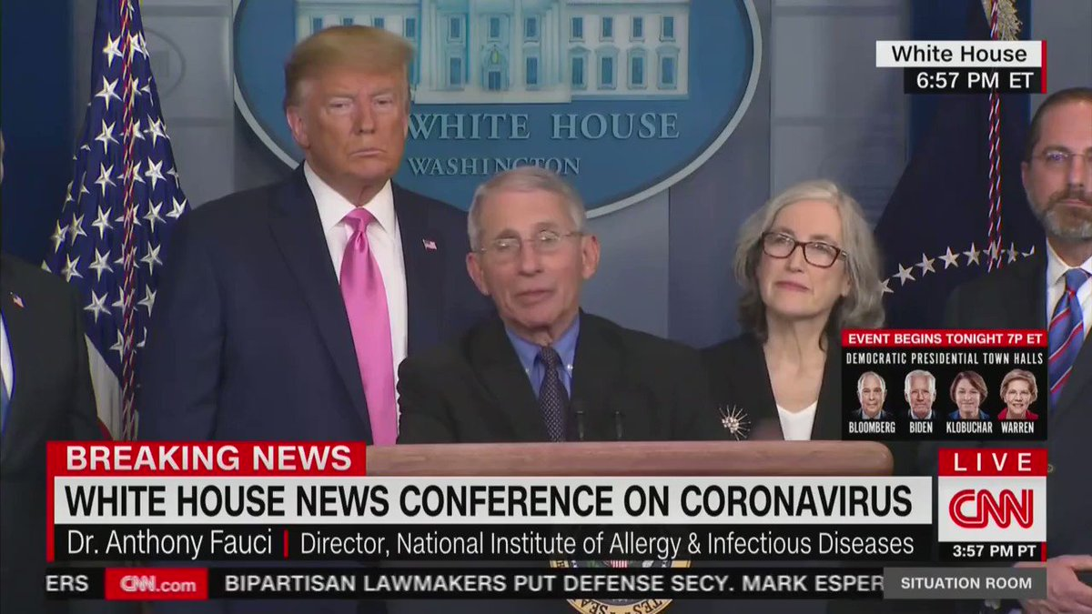 CNN has spent days spreading panic about coronavirus.   But last night, just as the White House was explaining the timeline for a vaccine trial, CNN cut away to a townhall with Michael Bloomberg.  They're whipping up hysteria just to hurt @RealDonaldTrump!