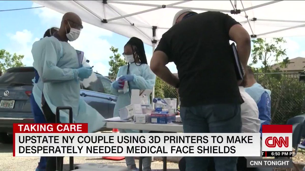 A New York couple has transformed their 3D printing business into an assembly line for desperately needed medical supplies. CNN's @EvanMcS reports.