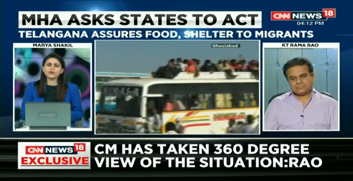 #NewsAlert | People who have ration card in Telangana are promised help. People who don't have a ration card & are not citizens of the state but are possibly suffering because of the crisis, are also being helped: @KTRTRS tells @maryashakil   #TotalLockdown | #IndiaFightsCOVID19