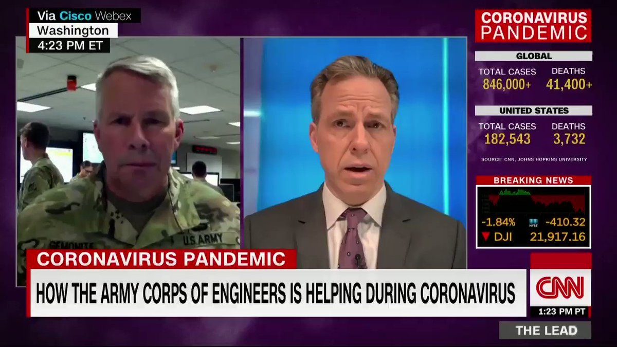 Lt. General Todd Semonite discusses how the US Army Corps of Engineers is building field hospitals in existing facilities in order to mitigate a potential shortage of sites in response to the coronavirus pandemic.