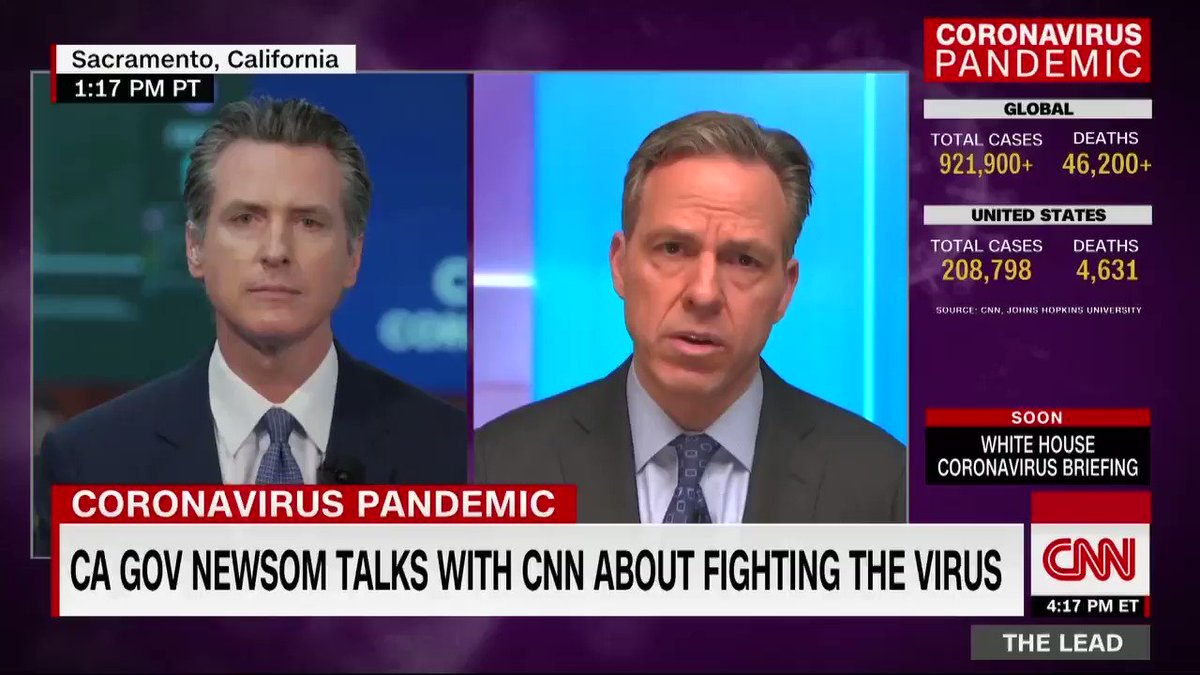 """California Gov. Gavin Newsom's message to states that have not issued stay-at-home orders: """"What are you waiting for? What more evidence do you need? … There's no greater intervention, period, full stop, none, than physical distancing."""""""