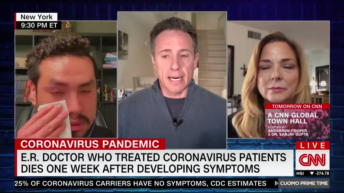 """Dr. Frank Gabrin had been treating coronavirus patients on the front lines. He died in his husband's arms just days after showing symptoms.  His heartbroken husband honors his memory tonight on the show as a hero """"who loved to help people."""""""