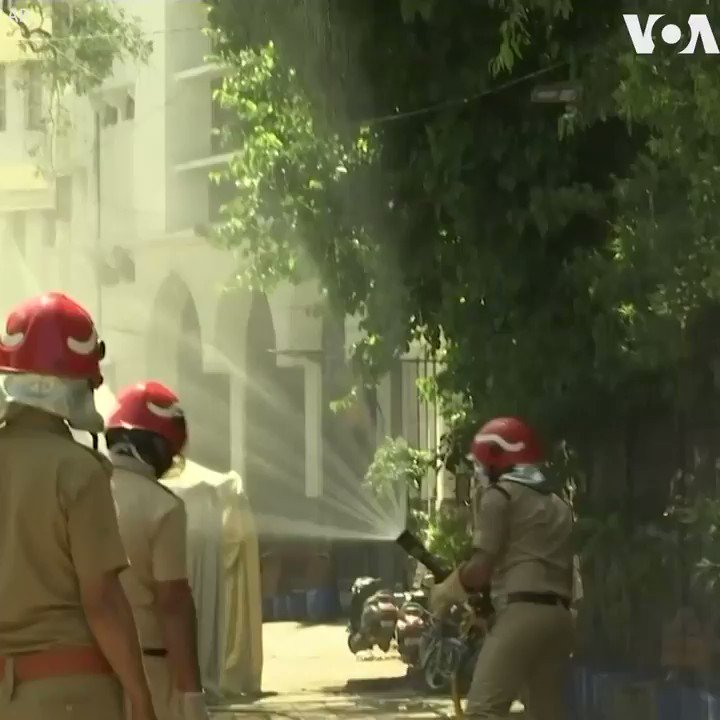 CORONAVIRUS:  Delhi fire officers disinfect an area at Nizamuddin, where several people who attended an Islamic congregation earlier this month tested positive for COVID-19, in New Delhi, India, Thursday. India so far has reported 2,341 COVID-19 cases and 68 deaths.  (AP)