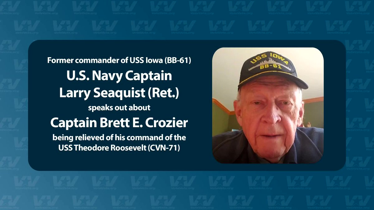 Retired Navy Captain Larry Seaquist is not mincing words, in support of Captain Brett Crozier, who was just relieved of command of the USS Teddy Roosevelt.