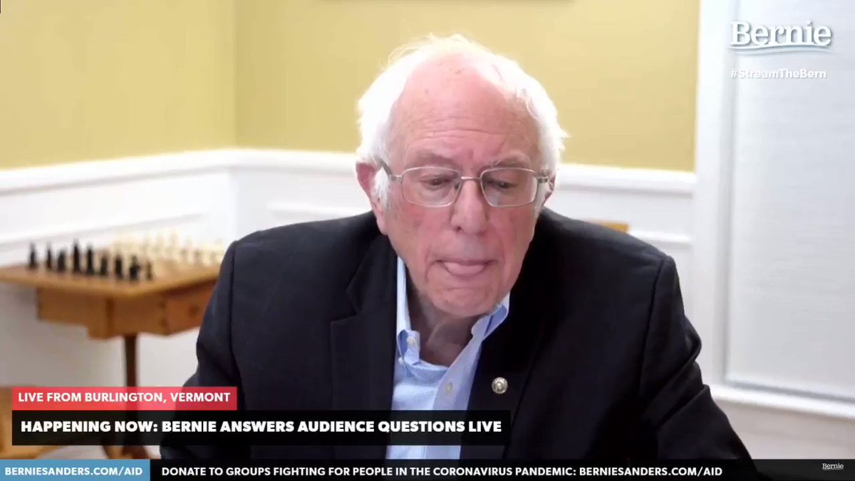 """Lenore Gusch asks: """"Is a nationwide freeze on mortgages and rents possible""""  @BernieSanders: """"Yes"""""""