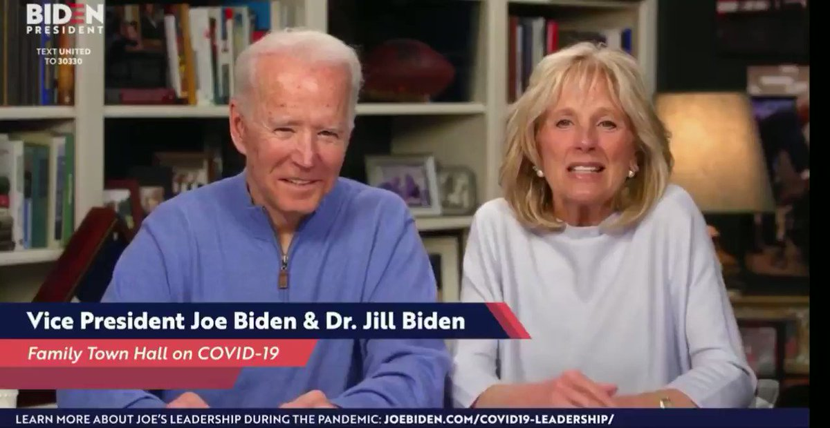 """Am I supposed to say something now?"" - Joe Biden asks his wife during tonight's town hall.  He also said the YouTube Creators had ""really great podcasts."""