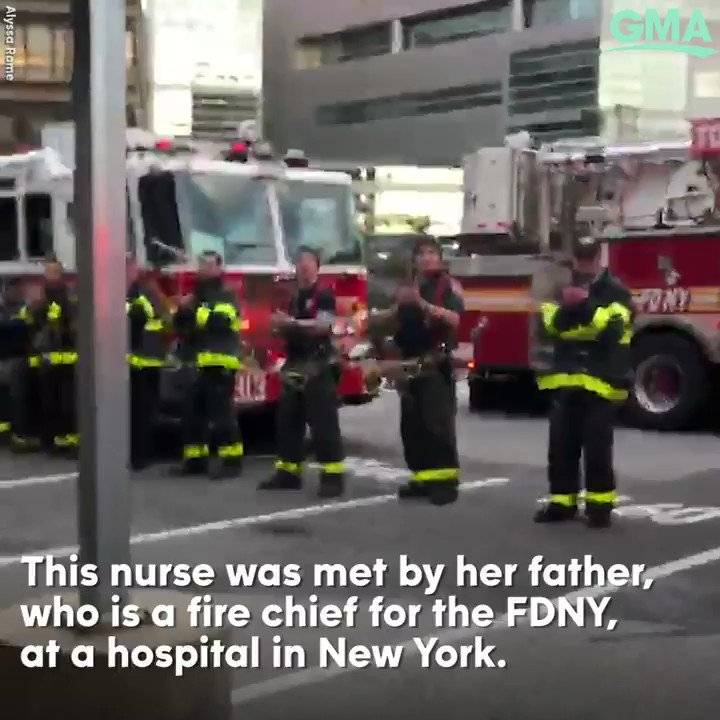 WATCH: @FDNY applauds nurses and staff at New York hospital.