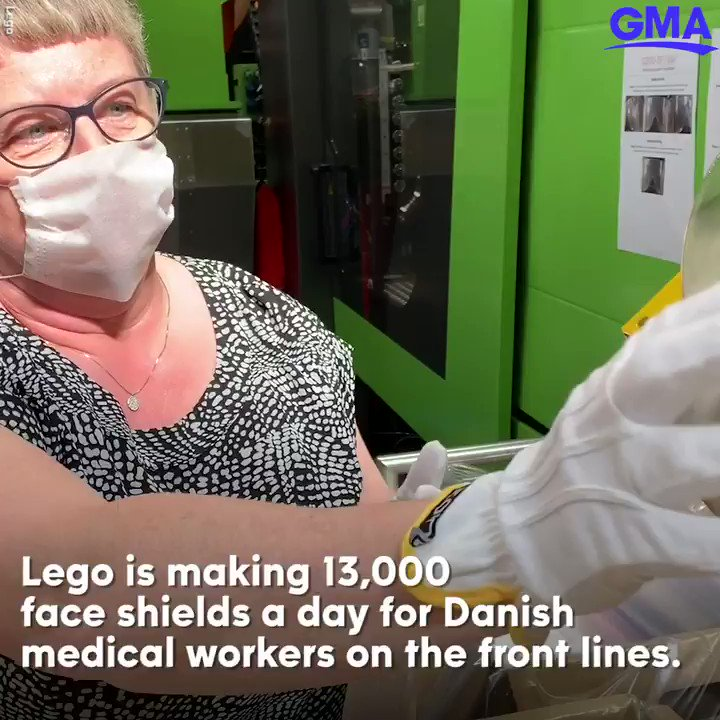 Lego is making 13,000 face shields a day for Danish medical workers.