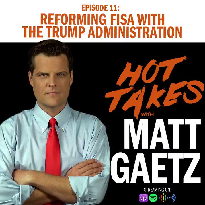A few months ago, @RepAndyBiggsAZ organized a meeting at the White House where a few of us went over to get the Trump administration's perspective on reforming the FISA process.   The Trump administration was fantastic in their response.   LISTEN:
