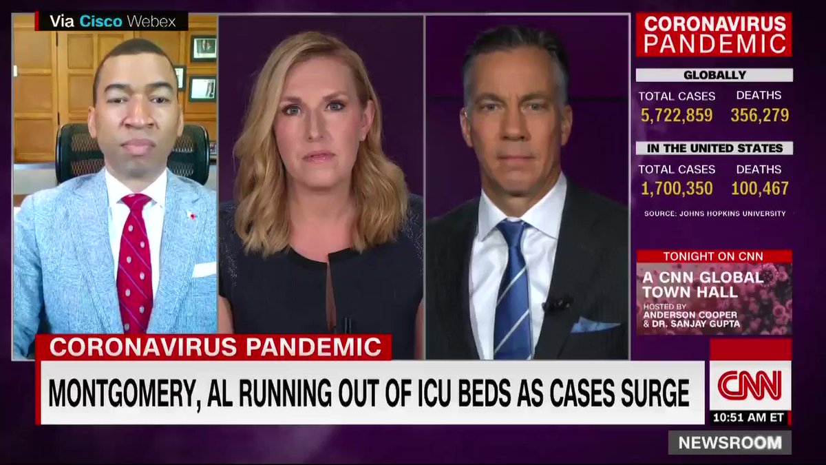 """Montgomery, Alabama, Mayor Steven Reed says the entire city only has two ICU beds available. """"We're not doing better, we're actually doing worse, unfortunately. … We are in a place that would be considered a crisis at this moment."""""""