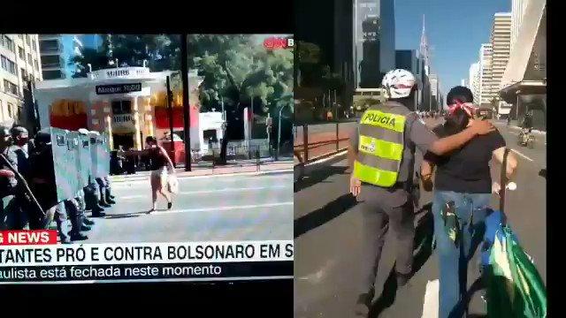 DESENHANDO O TRATAMENTO DA POLICIA MILITAR:   COM ANTIFASCISTA X COM FASCISTA