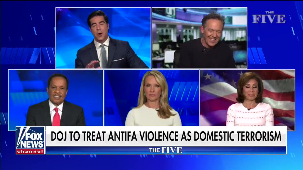 """""""Antifa fits the very definition of domestic terrorism and we need to knock these guys out fast because they have now hijacked this legit protest and disgraced the memory of George Floyd."""" #TheFive"""