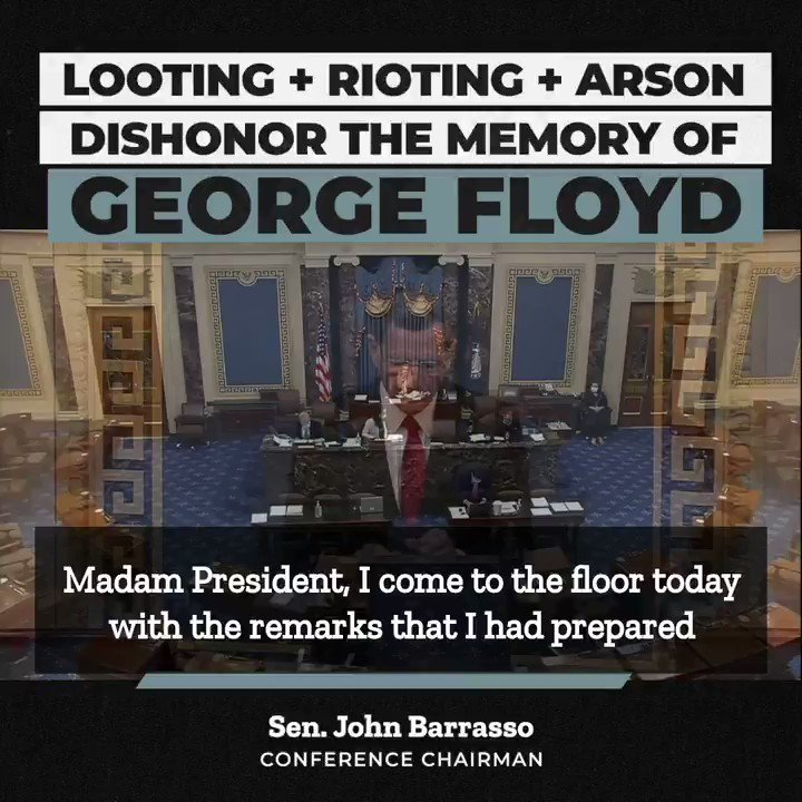 Conference Chairman @SenJohnBarrasso:  Peaceful protests are important and necessary.  But these peaceful protests have been hijacked by violent criminals.  They dishonor the memory of George Floyd and the cause for which the protesters first took to the streets.