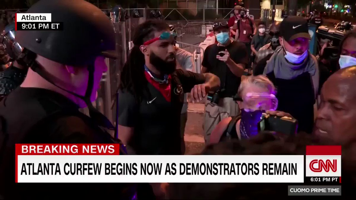 .@CNNValencia takes you inside negotiations between authorities and protest leaders as the curfew begins in Atlanta and demonstrators refuse to leave.