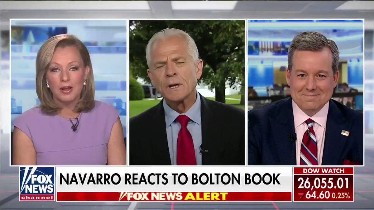 """WATCH: @PeterNavarro45 reacts to former national security adviser John Bolton's upcoming 592-page memoir, """"The Room Where it Happened"""" that charges that President Trump is 'unfit' for office #nine2noon"""