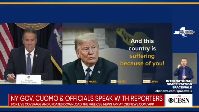 """""""The country issuffering because of thepresident and it's time for himto change course,"""" NY Gov. Cuomo says. """"The first thing he can do, comeclean with the American people.Admit the threat of this virus.Admit you were wrong"""""""