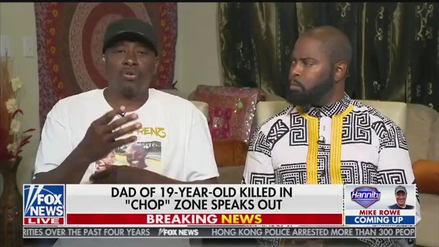 """I don't know nothing. He got killed up there. That's Horace Lorenzo Anderson. That's MY son. I loved him.""  The father of a 19-year-old killed in Seattle's CHOP breaks down discussing the death of his son and how no official has contacted him about his death."