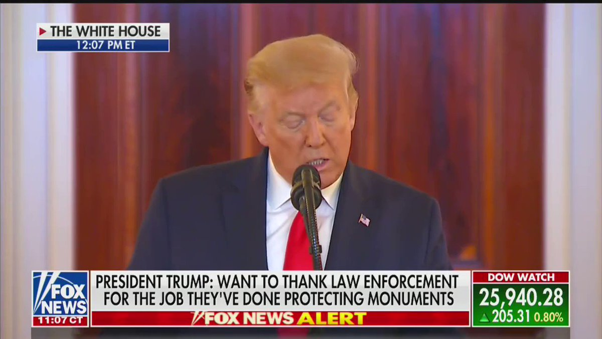 """President @realDonaldTrump: """"Nobody's going to shatter the American dream. Not the anarchists, not the agitators, not the fools, not the looters. They're not going to have any impact on the national dream - a national dream like no other."""""""