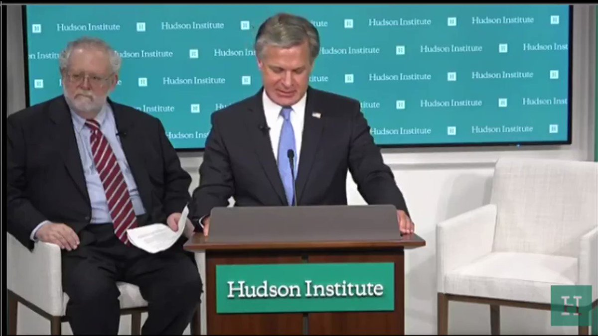 "As @FBI Director Christopher Wray said at @HudsonInstitute: ""The greatest long-term threat to our nation's information and intellectual property, and to our economic vitality, is the counter intelligence and economic espionage threat from China."""