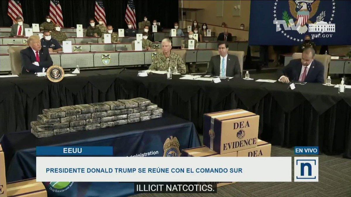 #VIDEO   El presidente Donald Trump le agradeció al equipo del Comando Sur por su liderazgo y compromiso para derrotar el narcotráfico en El Caribe y EEUU. Indicó que pelearán por Cuba y Venezuela. Via #TVVNoticias   #10Jul